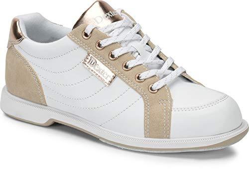 Dexter Groove IV - Weiß/Nubuck/Rose Gold - Bowling-Schuhe Damen, für Rechts- und Linkshänder in den Schuhgrößen 35-41 und Mein-Bowlingshop Schuhtasche im Set Größe 38,5