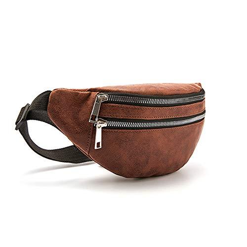 Bolso Hombre SFBBAO Bolso de Pecho para Mujer Paquetes de Cintura Grandes de Moda Bolso de cinturón Ajustable Bolso de Cintura de Cuero con Cremallera Bolso de Hombro de Mujer 30 * 12 cm Marrón