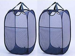 AMPERSAND SHOPS ホームオーガナイザー ポップアップハンパー 洗濯物とおもちゃバスケット メッシュ通気性生地 サイドポケット付き ブルー