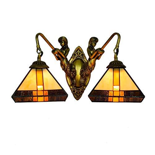 DALUXE Tiffany Crystal Lámpara de Pared 8 Pulgadas Británica Moderna Tiffany Doble Cabeza Lámpara de Pared Sirena Doble Cabeza Lámpara Sudeste Asiático Estilo Tiffany Vidrio Pintura Sala de Estar