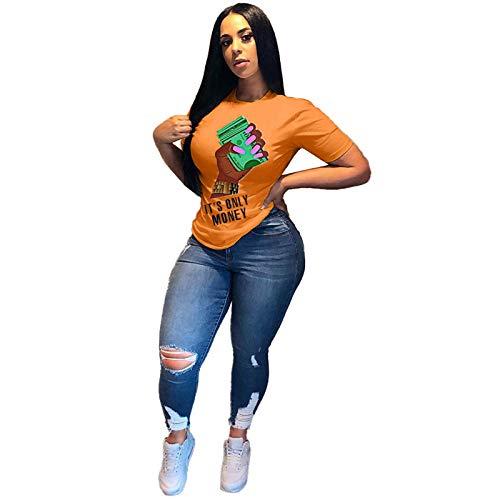 SLYZ Camisetas De Manga Corta De Verano para Mujeres Europeas Y Americanas, Camisetas Estampadas De Moda Personalizadas