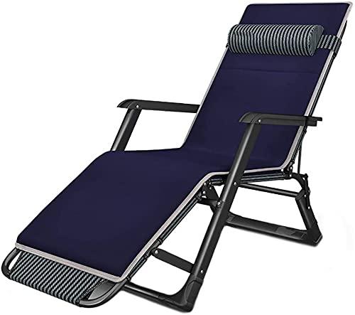 Sillas plegables al aire libre reclinables Silla reclinada al aire libre, plegable al aire libre y tumbona de sol reclinable con la almohadilla de la cabeza, para la piscina de la playa del jardín del