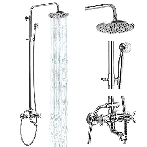 Shower Faucet Set 8 Rain Exposed Pipe Shower 2 Double Knobs Handle Chrome Polish Triple Function Tub Spout Shower Fixture Combo System Unit Set