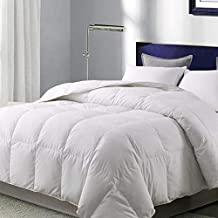 WhatsBedding White Goose Duck Down Comforter 100% Cotton Feather Comforter - Lightweight Duvet Insert - Twin 64x88