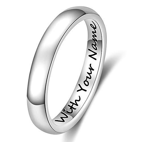 DaMei Personalisierte Damen Edelstahl Ringe für Ihn und Sie mit 2 Namen offen Gravur Ringe Männer & Frauen für Ehepaar Trauringe Freundschaftsringe Paarringe BFF Jahrestag Geburtstag (54 (17.2))