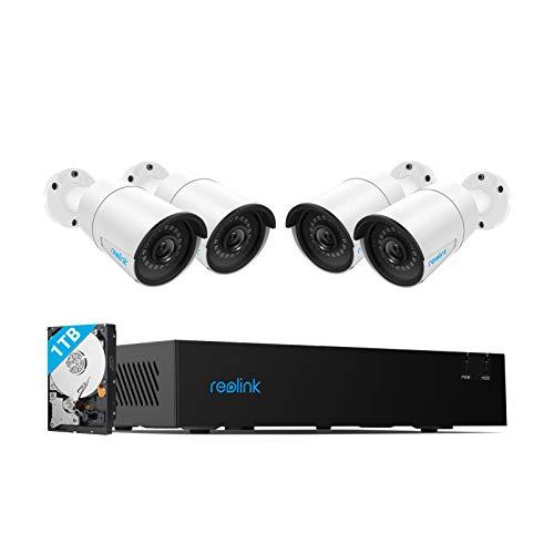 Reolink 4CH 4MP Kit Videosorveglianza IP PoE, 4CH 4MP PoE NVR con 4x4MP HD PoE Telecamera Esterno Impermeabile, Sistema di Sorveglianza con SATA HDD da 1TB, Rivelazione di Movimento, RLK4-410B4-4MP