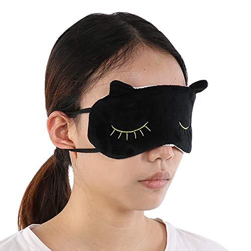 pour les yeux endormi - 3 couleurs Couverture pour les yeux des animaux mignons de sommeil Adorable chat Cartoon Eye Shade Bandeau(Noir)
