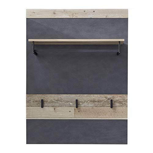 trendteam smart living Garderobe Gardrobenpaneel Tailor, 80 x 106 x 28 cm Front: Matera, Korpus: Pale Wood mit Ablagefläche und Garderobenknöpfen