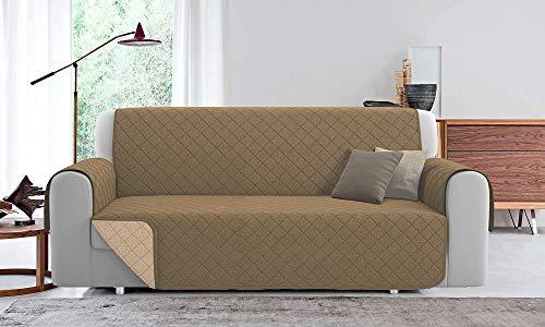 Funda de sofá acolchada reversible PET Friendly (beige/crema, 3 plazas, 240 cm)