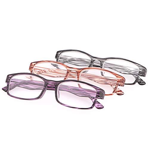 3 Stueck Damen Herren Lesebrille Klare Sicht Leser Blaulichtfilter Brillen Anti Augen Müdigkeit Computerleser Leicht und Komfortabel Anti Blaulicht Brille für Männer und Frauen Presbyopie (3er Pack)