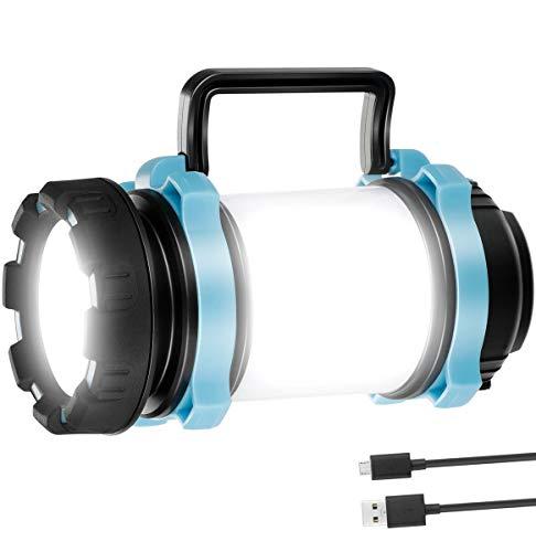 VINTONEY Lampe torche LED CREE rechargeable, lampe de camping multifonctionnelle, 4 modes de fonctionnement à piles pour camping, randonnée, pêche, chasse Garantie de remplacement 1 an