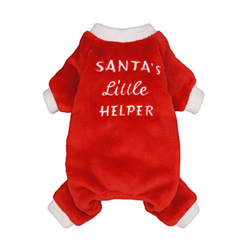 Fitwarm Santa's Little Helper Embroidered Dog Christmas Pajamas Pet Clothes Doggie Christmas Costumes Puppy Jumpsuits Red XL