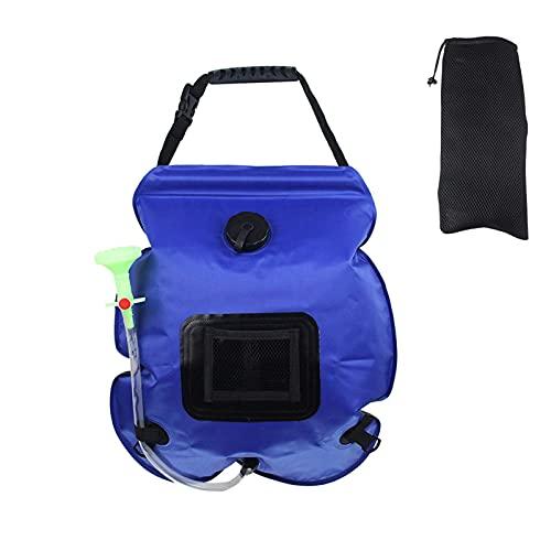 Bolsa de ducha solar, 20L/5 galones de calefacción portátil bolsa de ducha de camping con manguera extraíble y cabezal de ducha conmutable para camping, playa, natación, viajes al aire libre