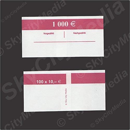 Banderolen für Euro Geldscheine je 50x (10 € Banderole) Geldbanderole Papier für Geldbündel Fassungsvermögen je 100 Scheine