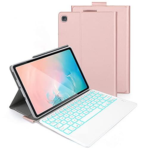 Beleuchtete Tastatur Hülle für Samsung Galaxy Tab S6 Lite 10,4 Zoll 2020, Abnehmbare Bluetooth QWERTZ Tastatur mit Schützhülle für Samsung Tablet P610/P615, Rosa Gold