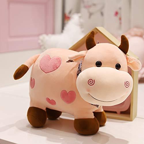 hokkk 25CM-40CM Lindo Juguete de Peluche de Vaca Toro Animal de Peluche Almohada Kawaii Ganado muñeca niños Regalos de cumpleaños Almohadas para Dormir de bebé 25CM Rosa