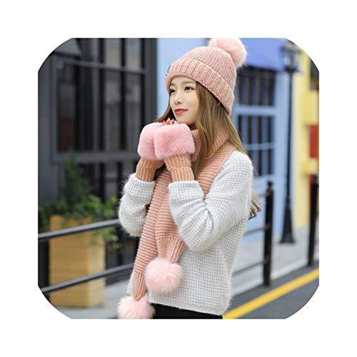 2019 Vrouwen Winter Hoed Sjaal/Handschoenen Sets Vrouwelijke Drie Stuk Gebreide Hoeden Sjaal Set Caps voor Meisje Warm Beanies hoed