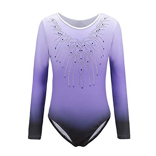 Sinoem Gymnastik Leotards för flickor långärmat gradient färg gnistrande leoparddansande balett gymnastik atletisk för liten flicka 5-12 år Purple-long sleeved Tag 10A(9-10 Year)
