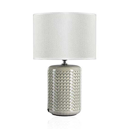 Pauleen 48020 Sobremesa Go For Glow Máx. 20W E27 Lámpara para Mesita de Noche Cerámica/Tela sin Bombilla, Verde/Beige, Talla Única