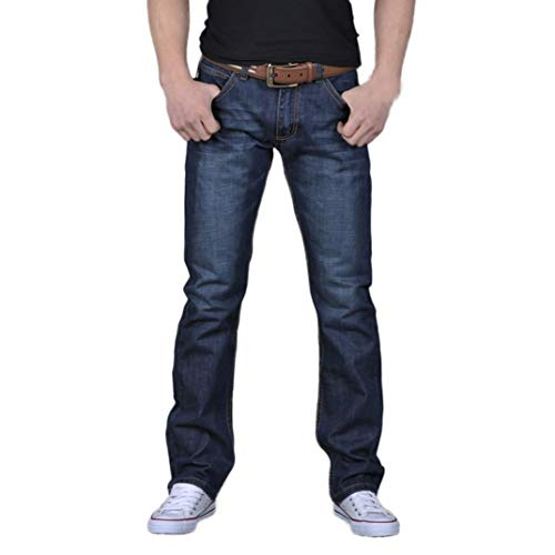 HOMEBABY Heren Blauw Jeans Katoen Hip Hop, Denim Jeans Plain Fited Rechte Been Losse Werk Lange Broek Wash Broek Klassiek