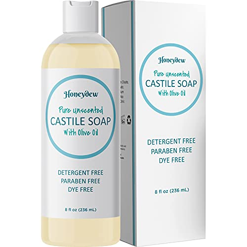 Castile Soap Liquid Unscented Cleanser - Liquid Castile Soap for Dry Sensitive Skin Care Routine and All Purpose Cleaner with Olive Oil for Hair Skin and Nails - Hair Face and Body Soap Liquid