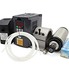 Model: 2.2KW Water Cooled Spindle&VFD&Clamp&Pump&Pipe&Collet CNC Kit Operating Speed:0-24000rpm;Frequency:400Hz;Voltage:110V;Runout off: less than 0.005mm Bearings:4pcs bearings;Lubrication:Grease;Current:8.5A;Size:80x200mm 2.2KW Inverter VFD 110V (1...