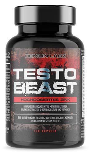 Testo Beast - Demon Labz - Enthält Zink, Aminosäuren, Maca & D-Asparaginsäure - Hochdosiertes Zink, trägt zur Erhaltung eines normalen Testosteronspiegels im Blut bei - 120 Kapseln