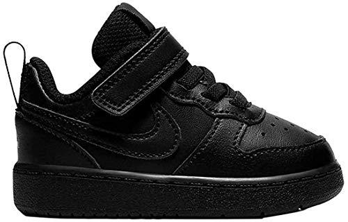 Nike Baby-Boys Court Borough Low 2 (TDV) Sneaker, Black/Black-Black, 18.5 EU