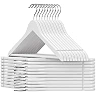 SONGMICS Solid Wood Hangers, 20-Pack Coat Hangers with Shoulder Notches, Trousers Bar, 360° Swivel Hook, Non-Slip for Jackets, Shirts, Dresses, White UCRW02WT