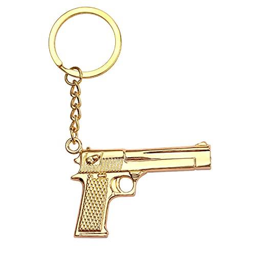 Ooopsieu Joyas de Hombre Pistola de Oro Llavero de la Pistola de la Policía Metal Metal Gifts Masculino del Encanto de la Llave del Coche Regalo del Motociclista