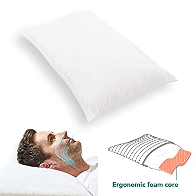 Kally Anti-Snore Relief Pillow - Best Snoring Problem Pillow for Back & Side Sleepers - 70 x 40cm, White