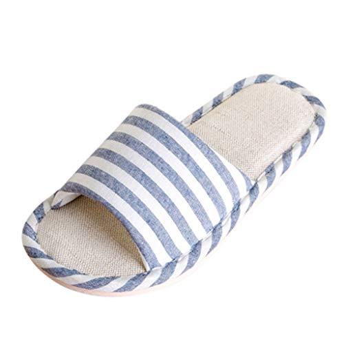 HDUFGJ Herren & Damen Gemütliche Memory Hausschuhe,Rutschfester Streifen Frottee Pantoffeln Plush Erwachsene Pantoffeln Sandalen Clogs & Pantoletten Pantoffeln43 EU-44 EU(Dunkel blau)