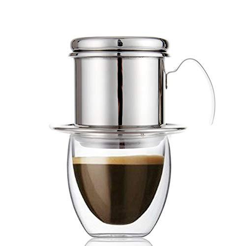 Echi Cafetera Pot, goteo de acero inoxidable cafetera eléctrica de goteo taza café vietnamita - Portátil para hogar cocina oficina uso en exteriores