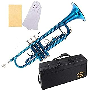 Glory Brass Bb Trumpet with Pro Case +Care Kit, Sea Blue, More COLORS Available ! CLICK..