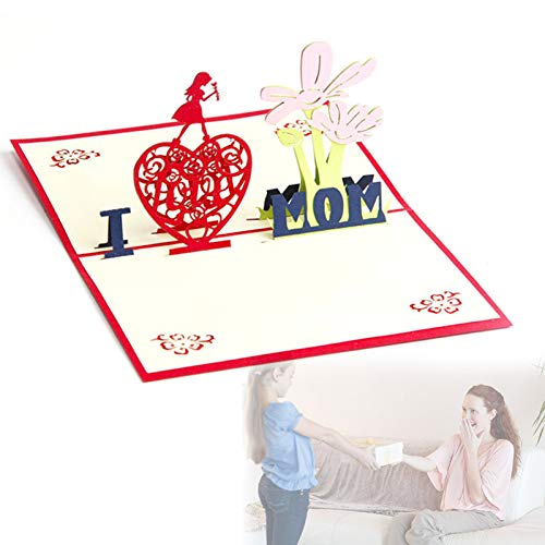 shadiao Handmade 3D Popping Greeting Card with Envelope for Mothers Day 12 x 12 cm