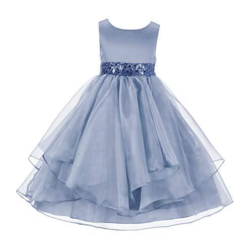 ekidsbridal Asymmetric Ruffled Organza Sequin Flower Girl Dress Christening Dresses 012S 8 Dusty Blue
