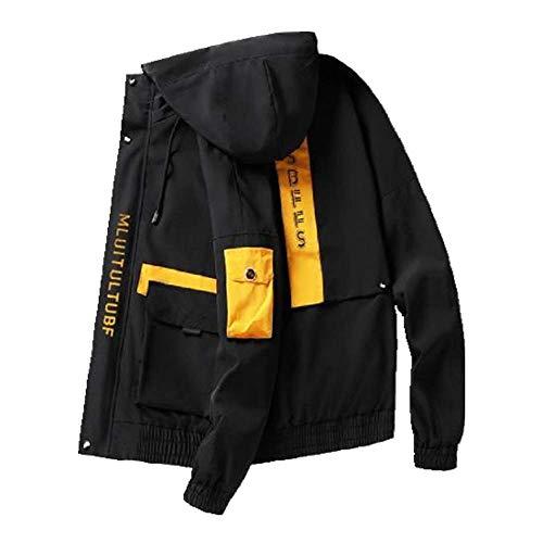 Nobrand Herren Windbreaker Frühlingsjacke Steetwear KorUPC Japanische Cargo Bomberjacken Herbst große Taschen Harajuku Hip Hop Mäntel Gr. XL, Schwarze Herrenjacke