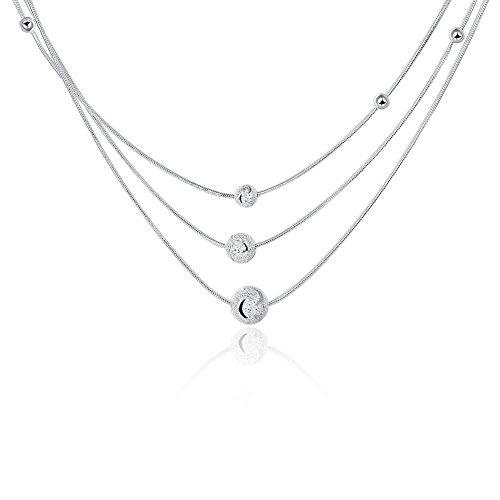 Collana da donna a girocollo, multifilo con perle, in argento Sterling
