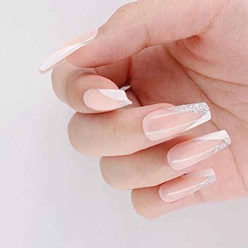 AiN Katy - französich glitzer lang - Nägel falsche künstliche - 24 Stück - press on nails - fertig zum aufkleben - elegante fingernägel - aufkleber im set inklusive