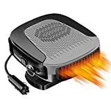 Car Heater, 12V 150W Portable Car Fan with Air Purification 2 in 1 Fast Heating & Cooling Function 3-Outlet, Plug in Cigarette Car Defroster(Grey)