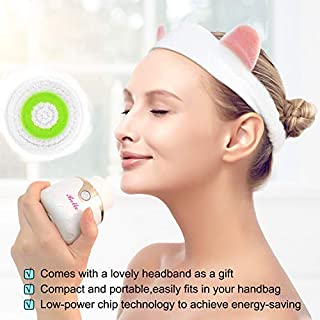 Belle Sonic Vibrating Facial Cleansing Brush,2 Brush Heads by 3 Modes for Deep cleansing,Waterproof,Wireless Charging and Smart Timer for Facial Cleaning,Exfoliating and Massaging, Teardrop Shape,