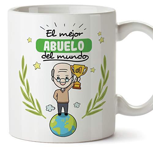 MUGFFINS Taza Abuelo - El Mejor Abuelo del Mundo - Taza Desayuno/Idea Regalo Original/Día del Padre para Abuelitos. Cerámica 350 mL