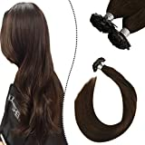 Ugeat Dark Brown Pre Bonded Human Hair Extensions 16 Pulgadas Flat Tip Cabello Humano Extensiones 1g*50strands