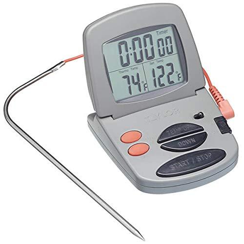 Taylor Pro Thermomètre à Viande au Four Numérique, Sonde de Cuisson d'Aliments Précise et Multi-Fonctionnelle avec Minuterie de Cuisine Numérique, Garanti 5 Ans, Plastique / Acier Inoxydable Gris