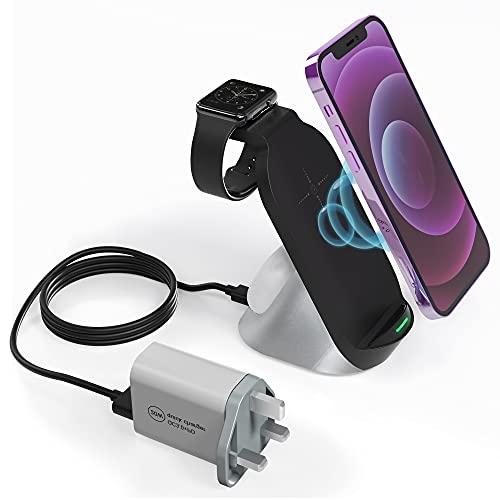 Cargador inalámbrico 3 en 1,15 W rápido cargador inalámbrico para dispositivos Apple, compatible con iPhone, Apple Watch, todos los AirPods y más (con adaptador)