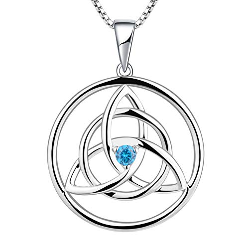 YL Kette Keltische 925 Sterling Silber März Geburtsstein Aquamarinblau Zirkonia Irische Knoten Anhänger Halskette für Damen