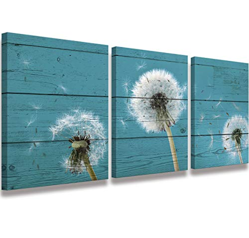 Canvas Printing Simple Life Painting Retro Dandelion wall decal Bathroom Decoration Dandelion Picture Nostalgic Blue Wooden Artwork Watercolor 12x16 inch 3 piece set frame living room bedroom Wall Art