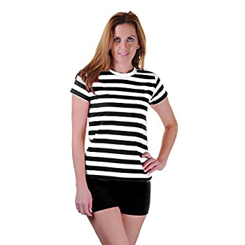 Unisex Black and White Horizontal Striped T-shirt