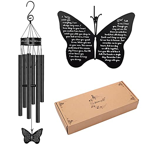 Memorial Butterfly Wind Chimes for Loss of Father Mother Wife...