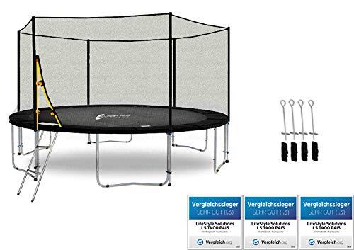 LifeStyle ProAktiv LS-T430-PA14 (SA) Trampolino da Giardino 430cm - incl. Rete di Sicurezza 130g/m² - New